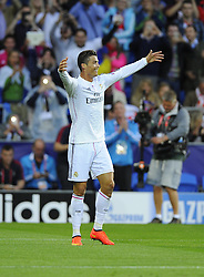 Real Madrid's Cristiano Ronaldo celebrates - Photo mandatory by-line: Joe Meredith/JMP - Mobile: 07966 386802 12/08/2014 - SPORT - FOOTBALL - Cardiff - Cardiff City Stadium - Real Madrid v Sevilla - UEFA Super Cup