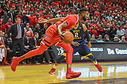 LUBBOCK, TX - JANUARY 13: Niem Stevenson #10 of the Texas Tech Red Raiders handles the ball against Jevon Carter #2 of the West Virginia Mountaineers during the game on January 13, 2018 at United Supermarket Arena in Lubbock, Texas. Texas Tech defeated West Virginia 72-71. (Photo by John Weast/Getty Images) *** Local Caption *** Niem Stevenson;Jevon Carter
