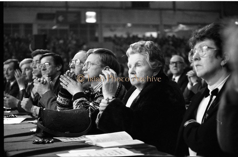 Fianna Fáil Ard Fheis.  (R97)..1989..25.02.1989..02.25.1989..25th February 1989..The Fianna Fáil Ard Fheis was held today at the RDS Main Hall, Ballsbridge, Dublin. An Taoiseach, Charles Haughey TD,gave the keynote speech of the event...Fianna Fáil faithful listen with rapt attention to the speech being given by An Taoiseach, Charles Haughey TD.