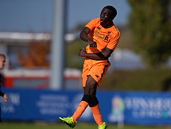 LENDAVA, SLOVENIA - Tuesday, October 17, 2017: Liverpool's Bobby Adekanye celebrates scoring the fourth goal during the UEFA Youth League Group E match between NK Maribor and Liverpool at Športni Park. (Pic by David Rawcliffe/Propaganda)