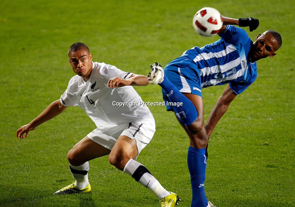 NZ's Winston Reid goes up against Honduras's Georgie Welcome. ASB International Series, All Whites v Honduras, North Harbour Stadium Albany, Saturday 9th October 2010. Photo: Shane Wenzlick
