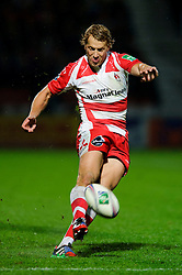 Gloucester Fly-Half (#10) Billy Twelvetrees kicks a Penalty during the second half of the match - Photo mandatory by-line: Rogan Thomson/JMP - Tel: 07966 386802 - 12/10/2013 - SPORT - RUGBY UNION - Kingsholm Stadium, Gloucester - Gloucester Rugby v USA Perpignan - Heineken Cup Round 1.