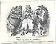 Afghanistan asking to be saved from the colonial ambitions of its 'friends', Russia (Bear) and Britain (Lion). Cartoon by John Tenniel from 'Punch', London, 30 November 1878.