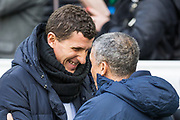 Javi Gracia, Head Coach of Watford FC greeted by Chris Hughton, Manager of Brighton & Hove Albion FC during the Premier League match between Brighton and Hove Albion and Watford at the American Express Community Stadium, Brighton and Hove, England on 2 February 2019.
