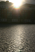 Blast of sunlight over quays, Dublin, Ireland