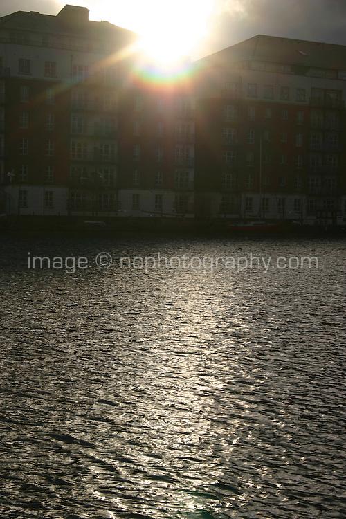 Blast of sunlight over quays, Dublin, Ireland