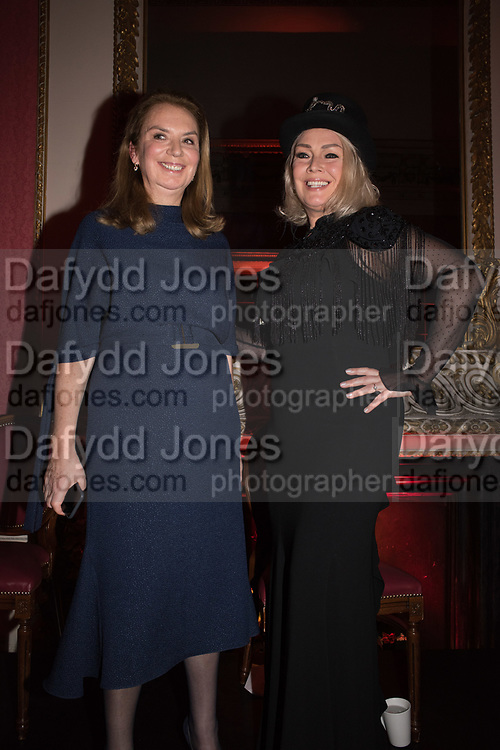 NANCY SLADEK, KIM WILDE, , Literary Review Christmas party and Bad SEx Awards. In and Out club. St. James Sq. London. 3 December 2018