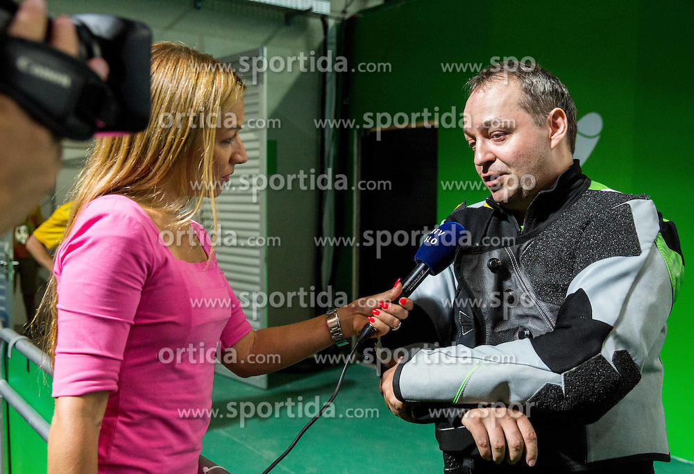 Journalist Antonija Razen and Francek Gorazd Tirsek - Nani of Slovenia after the Final of R5 - Mixed 10m Air Rifle Prone SH2 on day 6 during the Rio 2016 Summer Paralympics Games on September 13, 2016 in Olympic Shooting Centre, Rio de Janeiro, Brazil. Photo by Vid Ponikvar / Sportida