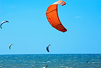 Kite surfing on cumbuco beach near fortaleza in brazil