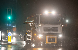 © Licensed to London News Pictures. 22/01/2019. Orpington, UK. A gritter out on the roads in Orpington spreading salt. The big freeze hits South East London as snow falls tonight with temperatures to drop to -12C.Photo credit: Grant Falvey/LNP