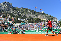 April 17, 2018 - Monte Carlo, Monaco - LUCAS POUILLE of France returns the ball during his loss to M. Zverev in a Mens Singles Round of 32 match on Court Rainier III during the Monte-Carlo Masters tennis tournament. (Credit Image: © Panoramic via ZUMA Press)