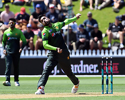 Pakistan's Mohammad Amir bowls against New Zealand in the first one day cricket international at the Basin Reserve, Wellington, New Zealand, Saturday, January 06, 2018. Credit:SNPA / Ross Setford  **NO ARCHIVING**