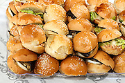 Assortment of sandwiches in a pile