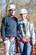 Cassie Brown and Mark Brown pose for a portrait after zipling.