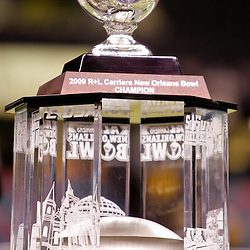 Dec 20, 2009; New Orleans, LA, USA; A close up view of the R+L Carriers New Orleans Bowl Trophy following the 2009 New Orleans Bowl between the Southern Miss Golden Eagles and the Middle Tennessee State Blue Raiders at the Louisiana Superdome. Middle Tennessee State defeated Southern Miss 42-32. Mandatory Credit: Derick E. Hingle-US PRESSWIRE