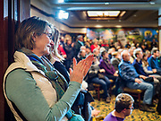 12 JANUARY 2020 - PERRY, IOWA: People applaud US Senator Amy Klobuchar (D-MN) while she speaks during a campaign event at the Hotel Pattee in Perry, IA, Sunday. Sen. Klobuchar brought her presidential campaign to Perry, a farming community about 50 miles west of Des Moines. Iowa hosts the first event of the presidential selection process in February. The Iowa Caucuses are Feb. 3, 2020.      PHOTO BY JACK KURTZ