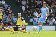Burton Albion forward Liam Boyce (27) misses a chance during the EFL Sky Bet League 1 match between Burton Albion and Coventry City at the Pirelli Stadium, Burton upon Trent, England on 14 September 2019.