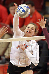 07 November 2014:  Ashley Rosch strikes the ball towards the Ramblers during an NCAA womens volleyball match between the Loyola Ramblers and the Illinois State Redbirds at Redbird Arena in Normal IL