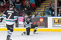 KELOWNA, CANADA - DECEMBER 5: Dillon Dube #19 of Kelowna Rockets celebrates the first goal against the Portland Winterhawks on December 5, 2015 at Prospera Place in Kelowna, British Columbia, Canada.  (Photo by Marissa Baecker/Shoot the Breeze)  *** Local Caption *** Dillon Dube;