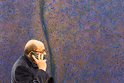 New York, NY - May 3, 2019. A spectator on the phone in front of a painting in the Alex Katz Gallery at the Frieze Art Fair on New York City's Randalls Island.