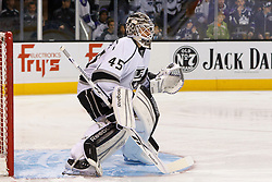 Nov 7, 2011; San Jose, CA, USA; Los Angeles Kings goalie Jonathan Bernier (45) warms up before the game against the San Jose Sharks at HP Pavilion.  San Jose defeated Los Angeles 4-2. Mandatory Credit: Jason O. Watson-US PRESSWIRE