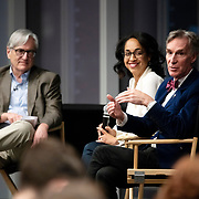 April 17, 2018 - New York, NY : The New York Times hosted Bill Nye for a conversation about climate change with New York Times science writer James Gorman and NYC Rising producer Geraldine Moriba at the Times building on Tuesday evening. Here, from left, Gorman, Moriba, and Nye during the event.  CREDIT: Karsten Moran for The New York Times