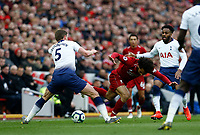 Football - 2018 / 2019 Premier League - Liverpool vs. Tottenham Hotspur<br /> <br /> Mohamed Salah of Liverpool fails to get past Jan Vertonghen and Danny Rose of Tottenham Hotspur, at Anfield.<br /> <br /> COLORSPORT/ALAN MARTIN