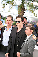 Matthew Mcconaughey,John Cusack,   Zac Efron, at The Paperboy photocall at the 65th Cannes Film Festival France. Thursday 24th May 2012 in Cannes Film Festival, France.