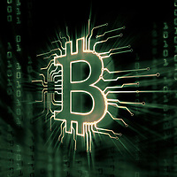Bitcoin ₿ cryptocurrency, digital decentralized currency symbol, conceptual illustration of a bitcoin logo connected to a blockchain network bit matric in green colors.
