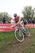 Belgium, November 1 2017:  Mathieu van der Poel (Beobank-Cornedon) leads Lars van der Haar (Telenet-Fidea Lions) during the 2017 edition of the Koppenbergcross elite men's race. The race is part of the DVV Verzekeringen Trofee series. Copyright 2017 Peter Horrell.