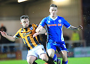 James Hooper, Michael O'Connor during the Sky Bet League 1 match between Rochdale and Port Vale at Spotland, Rochdale, England on 28 November 2015. Photo by Daniel Youngs.