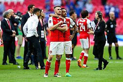 Goalscorer Aaron Ramsey and Theo Walcott of Arsenal celebrate after Arsenal win the match 2-0 to become FA Cup Winners - Rogan Thomson/JMP - 27/05/2017 - FOOTBALL - Wembley Stadium - London, England - Arsenal v Chelsea - FA Cup Final.
