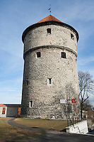 Low angle view of medieval tower; Tallinn; Estonia; Europe
