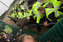 "© under license to London News Pictures. 22/11/2010: 20 have gone on trial, accused of attempting to shut down the Ratcliffe-On-Soar coal-fired power station, near Nottingham, in April 2009. In October that same year, protesters from ""Camp for Climate Action"" and police clashed at the E.on operated station which, say activists, is the most polluting of its kind, in the UK."