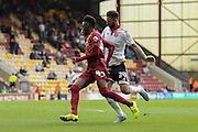 Bradford City forward Devante Cole robs Sheffield United defender, on loan from Birmingham City, David Edgar of the ball to score during the Sky Bet League 1 match between Bradford City and Sheffield Utd at the Coral Windows Stadium, Bradford, England on 20 September 2015. Photo by Simon Davies.