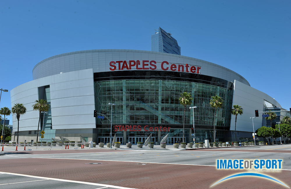 May 30, 2010; Los Angeles, CA, USA; General view of the Staples Center exterior before the WNBA game between the Atlanta Dream and the Los Angeles Sparks.