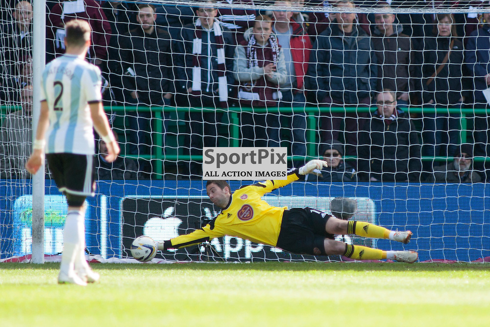 Neil Alexander (Hearts) makes a save in the Hibernian v Heart of Midlothian SPFL Championship at Easter Road Stadium, Edinburgh. 12 April 2015.<br />