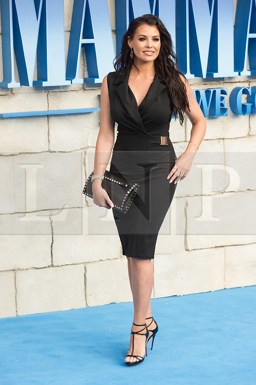 © Licensed to London News Pictures. 16/07/2018. London, UK. Jess Wright attends the Mamma Mia! Here We Go Again World Film Premiere at Eventime Apollo Hammersmith. Photo credit: Ray Tang/LNP