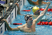 England's Christopher Cook celebrates winning the Men's 100m Breatstroke Swimming Final at the Melbourne Sports and Aquatic centre at the XVIII Commonwealth Games, Melbourne, Australia, Saturday, March 18 2006. Photo: Michael Bradley/PHOTOSPORT