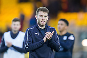 16th February 2019, Tony Macaroni Arena, Livingston, Scotland; Ladbrokes Premiership football, Livingston versus Dundee; Andy Dales of Dundee applauds the fans at the end of the match