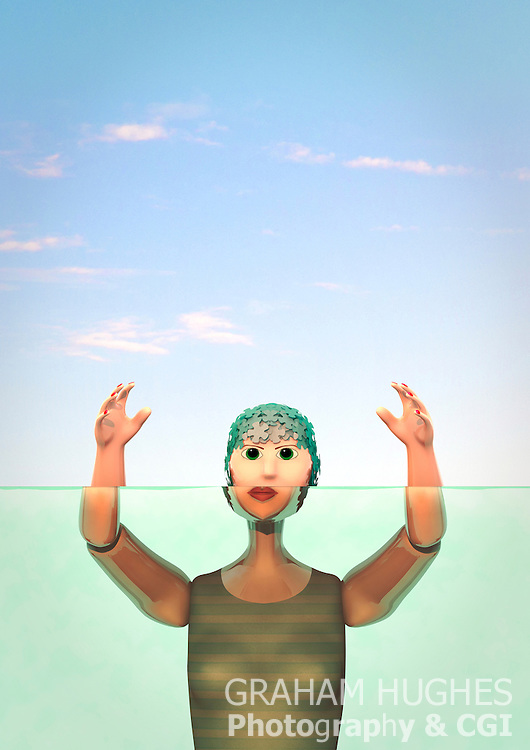 Female vintage toy swimming, drowning. Created this toy in Cinema 4D so no property rights problems. Is my own design.