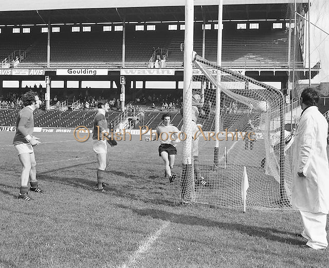 Mayo player runs into the goal during the Antrim v Mayo All Ireland Minor Gaelic Football Final in Croke Park on the 8th of September 1974.