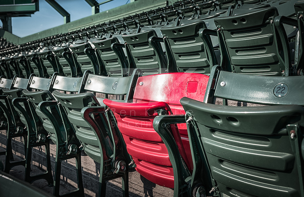 """[Note: This high dynamic range photo was created from a single exposure during post-processing.] """"The Red Seat"""" in Fenway Park where the ball landed from a 502 foot home run hit by Ted Williams in 1946.  The seat is section 42, row 37, seat 21."""