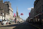 Shops traffic people, Union Street, Aberdeen, Scotland