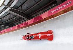 25.02.2018, Olympic Sliding Centre, Pyeongchang, KOR, PyeongChang 2018, 4er Bob, Herren, 3. Lauf, im Bild Benjamin Maierm, Kilian Walch, Markus Sammer, Ion Moldovan Danut (AUT) // Benjamin Maierm Kilian Walch Markus Sammer Ion Moldovan Danut (AUT) during the men's 4-man bob heat 3 for the Pyeongchang 2018 Winter Olympic Games at the Olympic Sliding Centre in Pyeongchang, South Korea on 2018/02/25. EXPA Pictures © 2018, PhotoCredit: EXPA/ Johann Groder