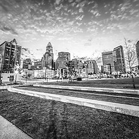 Charlotte skyline and Romare Bearden Park black and white photo. Charlotte, North Carolina is a major city in the Eastern United States of America.