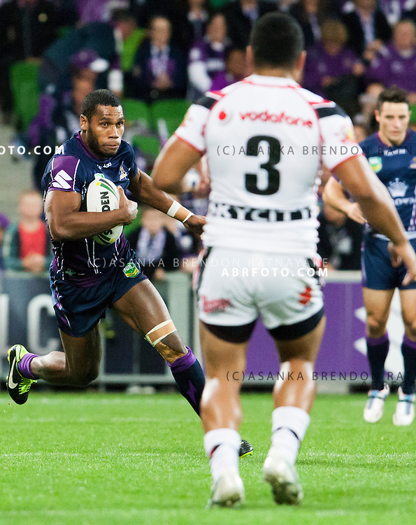 Sisa Waqa. NRL ROUND 7 - MELBOURNE STORM VS NEW ZEALAND WARRIORS  AT AAMI PARK, Melbourne,Victoria, Australia. Photo Asanka Brendon Ratnayake SMP Images.