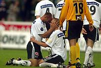 Fotball, 29. juni 2003, Tippeligaen, Odd Grenland - Lillestrøm 5-0. Tremålscorer Edwin van Ankern Edwin van Ankeren, Odd Grenland, jubler sammen med Anders Rambekk