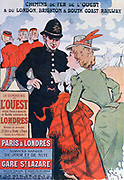 Advertisement for Railway of the West's Paris-London boat train service, c1900. A French lady visitor asks a London policeman for help. Soldiers in background Transport Rail Marine International England France Tourism