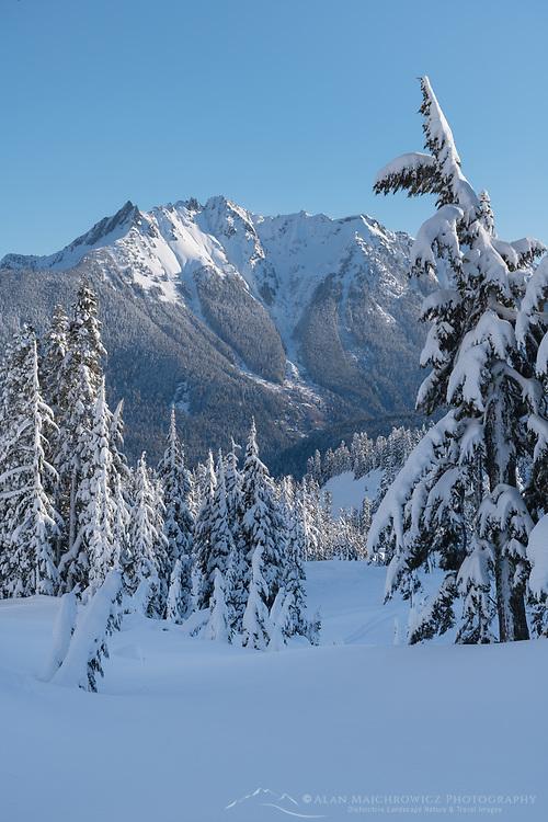 Nooksack Ridge in winter seen from Heather Meadows Recreation Area, North Caascades Washington